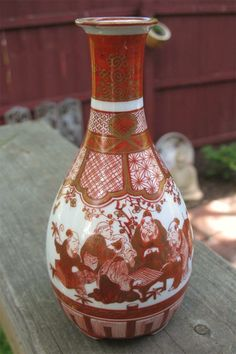 Japanese Porcelain Kutani Footed Saki Bottle Meiji Period with Go Game Players | eBay