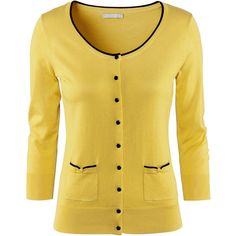 H&M Cardigan ($23) ❤ liked on Polyvore featuring tops, cardigans, sweaters, jackets, outerwear, yellow, yellow cardigan, beige top, beige cardigan and three quarter sleeve tops