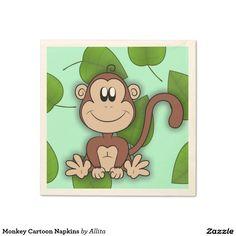 Monkey Cartoon Napkins Standard Cocktail Napkin