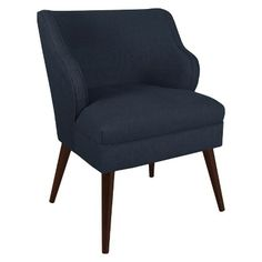 Not sure about color, but like the shape. Skyline Custom Upholstered Modern Chair - Linen Navy