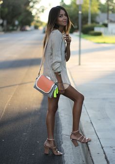 #SincerelyJules goes all or nude in #JBRAND Lynne Leather Shorts in Nubuck. Click to shop the style (on sale).
