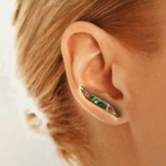 Sterling Silver and Paua EarWing, Ear Climber by SouthWindSilver on Etsy