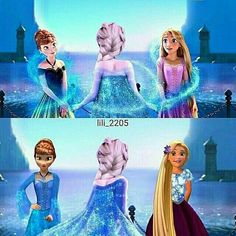 Anna and Rapunzel get dresses from Elsa Frozen Disney, Frozen And Tangled, Disney Magic, Disney Dream, Cute Disney, Disney Girls, Disney Princess Instagram, Disney Princess Art, Merida