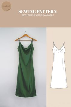 New sewing pattern for this gorgeous satin slip dress with adjustable straps by tintofmintPATTERNS. You can buy this sewing pattern and many others in our shop on Etsy. Dress Sewing Patterns, Sewing Patterns Free, Clothing Patterns, Dress Sewing Tutorials, Crochet Patterns, Sewing Clothes, Diy Clothes, Couture Satin, Robe Diy