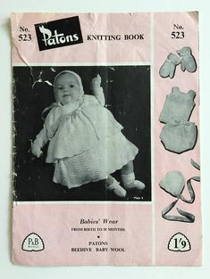 Vintage Patons Knitting Book no. 523  Babies' Wear from