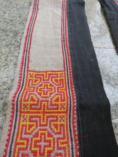 Vintage Hmong Fabric handmade cross stitch hempfabric by dellshop