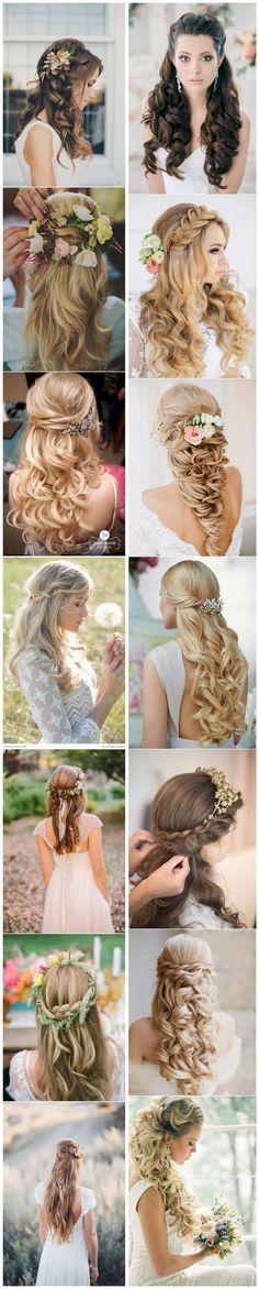 Stunning Half Up Half Down Wedding Hairstyles.