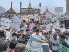 वैश्विक आतंकवाद के खिलाफ लखनऊ में जुमे की नमाज के बाद प्रदर्शन