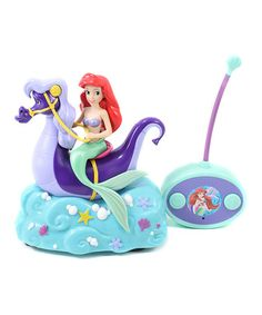 Ariel Remote Control Seahorse-Make magical moves with this Disney themed remote-control car. Featuring all the details of the beautiful princess in a stylishly speedy seahorse car, this sweet set ensures hours of imaginative play.    •Includes car and remote control •6.25'' W x 4'' H x 7'' D •Plastic •Recommended for ages 4 years and up •Requires two AAA batteries and three AA batteries (not included)
