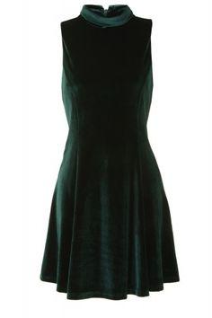 Green Velvet Roll Neck Skater Dress