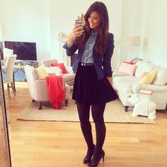 Mimi Ikonn   Denim shirt, pleated skirt, blazer