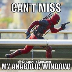 LIKE if you've seen #Deadpool ! COMMENT if you're planning on seeing it! FOLLOW if you wanna see more Deadpool-related gym memes and other nonsense! And last but not least, don't miss your anabolc window after a hard workout!