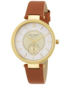 kate spade new york Women's Perry Brown Leather Strap Watch 38mm 1YRU0751 | macys.com