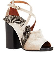 Fringed Crisscrossed-Strap Sandals