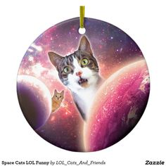 Space Cats LOL Funny Double-Sided Ceramic Round Christmas Ornament
