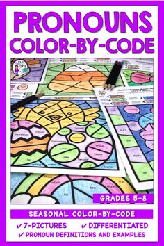 The Pronoun Color-By-Code pictures are the perfect activities for teaching and reinforcing the types of pronouns. Created for upper elementary and middle school students, this pronoun resource covers personal pronouns (subject & object), possessive, relative, reflexive, indefinite, demonstrative, interrogative, and intensive pronouns. Definitions and examples are included in this differentiated unit. Add some fun to your grammar program with the engaging color-by-code pages. Just print and…