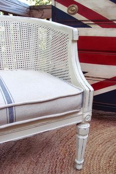 Shades of Blue Interiors: Some of My Favorite Things: Cane Chairs with Grain Sack Seats