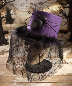 Purple Halloween Top Hat with Spider & Web Veil Costume Accessory - TheHolidayBarn.com