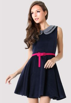 Double Peter Pan Collar Sleeveless Navy Dress. Also love her makeup! #fashion #dress #party #belt #summer #wedding #event #dance #dinner #date #outfit