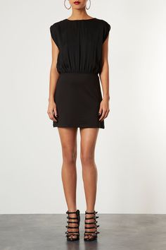 TOPSHOP 2 IN 1 BLOUSE SHIFT DRESS Price:$76.00 Color:BLACK