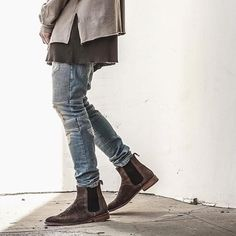 @lessonsconceptstore always killin' the fits. Sand Wash Denim & Taupe Chelseas... Chelsea Season 2 Incoming. #representclo