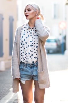 view more details on my blog   this outfit pictures were taken in Gruissan, South France   wearing 5Preview dots shirt, white Keds sneaker, DIY Levi's shorts, cashmere Strenesse cardigan   mediterranean flair & fashion