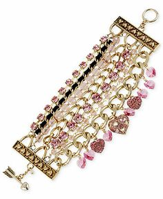 Betsey Johnson Gold-Tone Pink Crystal Heart Multi-Row Toggle Bracelet