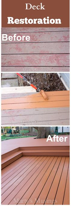 Wow! This deck project is a huge transformation by @Marty's Musings DIY/Home Blog. Amazing before and after of an old deck.