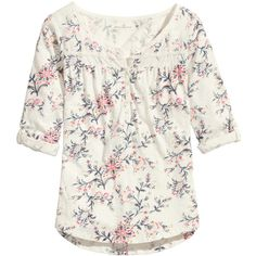 H&M Cotton top (£13) ❤ liked on Polyvore featuring tops, blouses, shirts, white blouse, button shirt, long sleeve cotton shirts, long sleeve blouse and long sleeve shirts