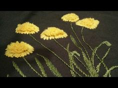 Hand embroidery grass flower with lazy Daisy and ring/ chhalla stitch wi...