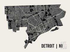Detroit City Map Art Print, Modern Minimalist Map Poster of Detroit in 12 x 18 x or 24 x 30 Detroit Map, Detroit History, Detroit Michigan, California Map, California Wedding, City Maps, Map Art, Art Studios, Art Prints