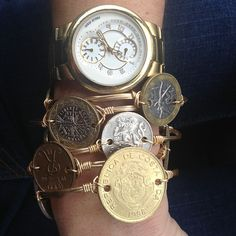 Photo by bourbonandboweties. Bracelets with international coins on them