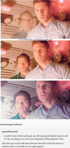 11x14 The Vessel [gifset] - first time we see the angel poof and Lucifer seeing his father's power - Casifer and Dean Winchester; Supernatural