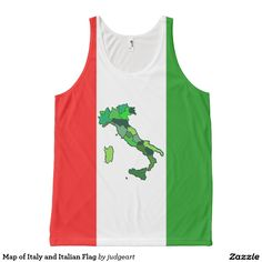 Map of Italy and Italian Flag All-Over Print Tank Top. #italy #italianflag #flags #tanktops