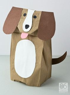 12 Kids Crafts for Dog Lovers Paper bag puppy puppet