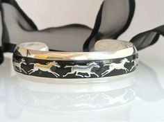 Wife birthday idea, Wife jewelry gift idea, Horse lover gift, Sterling, Navajo silver cuff bracelet, Native American, B Webb Running Horse