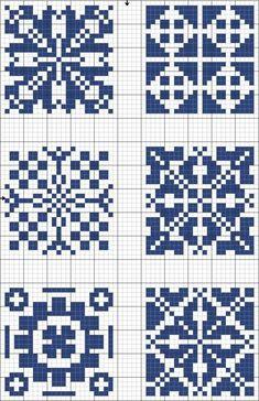 Cross-stitch Blue tiles, part 2 Biscornu Cross Stitch, Cross Stitch Charts, Cross Stitch Designs, Cross Stitch Embroidery, Cross Stitch Patterns, Crochet Chart, Filet Crochet, Knitting Charts, Knitting Stitches