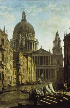 "Capriccio: St. Paul's and a Venetian Canal"", ~1795, by William Marlow (1740-1813) (thanks to karebaria for correction). This brings together the London cathedral and a Venetian canal. Reminds me of that infamous Photoshop pin of the Portuguese cave and the Pantheon."