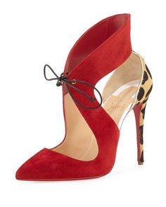 DesertRose,;,X3CDQ Christian Louboutin Ferme Rouge Self-Tie Red Sole Pump, Rougissime,;,