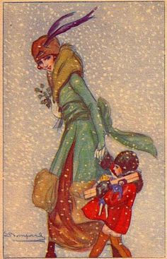 Christmas Shopping in the Snow! Beautiful Art Deco  Postcard by Sergio Bompard