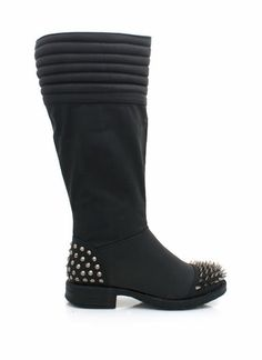 Add a little edge to your look with these spiked vegan leather boots.