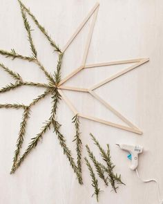 Could make these with popsicle sticks and greenery found around the neighborhood.