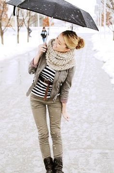 White scarf + belted striped top + green utility jacket + olive green pants + boots
