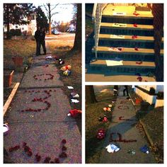 """this is how my loving boyfriend asked me to prom❤ for everyone who can't see, the rose petals spell out """"prom?"""""""