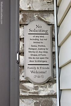 Inexpensive Front Door Spruce Up Challenge. I love this no soliciting sign! See post for more awesome ideas to improve your front door on a budget.
