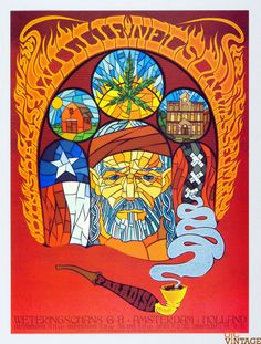 Willie Nelson Poster 2007 Jan 23 Paradiso Amsterdam Netherlands Chuck Sperry