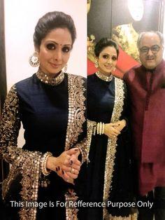 Sridevi Embroidered Black Party Wear Gown Bogglingshop.com