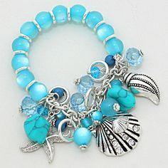 Nautical Sea Ocean Howlite Marbelized Blue Beads Silver Shell Starfish Bracelet