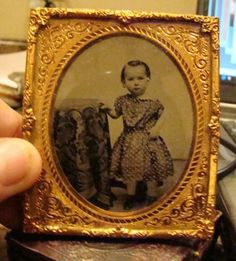 Antique Sixth Plate Ambrotype Cute Little Girl/ Early Dress