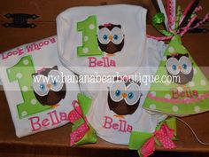 Lime and Pink Owl First Birthday Hat by bananabearboutique on Etsy, $85.00